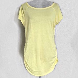 bobi Boutique Yellow Ruched Tee Size Large